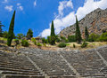 Ruins of amphitheater in delphi greece archaeology background Stock Image