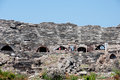 Ruins of ancient amphitheater in Side, Turkey Royalty Free Stock Photography