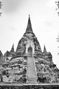Ruins of ancient Ayutthaya in Thailand black and white Royalty Free Stock Photo