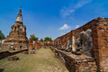 Ruins of ancient buddha statue and pagoda in Ayutthaya province, thailand Royalty Free Stock Photos