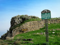 Ruins of an ancient byzantine church on mount berenice tiberias israel this place is also a scenic lookout with view to the sea Royalty Free Stock Photo