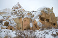 The ruins of ancient Christian church in the Pink Valley on a gloomy January day. Cappadocia, Turkey Royalty Free Stock Photo