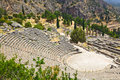 Ruins of the ancient city delphi greece archaeology background Royalty Free Stock Photo