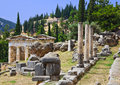 Ruins of the ancient city delphi greece archaeology background Stock Photography