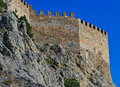Ruins of an ancient Genoa Fortress on a mountain in Sudak, Crimea, Ukraine Royalty Free Stock Photo