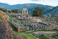 Ruins of an ancient greek temple of Apollo at Delphi, Greece Royalty Free Stock Photo