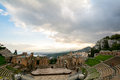 Ruins of the ancient greek theater of Taormina, Sicily the Etna Royalty Free Stock Photo