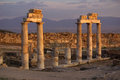 Ruins of ancient hierapolis pamukkale turkey at sunset Royalty Free Stock Images