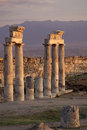 Ruins of ancient hierapolis pamukkale turkey at sunset Stock Photos