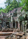 Ruins of the ancient khmer temple of ta prohm in cambodia architecture Stock Photos