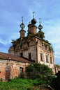 Ruins of ancient orthodox church resurrection cathedral in soligalich russia Stock Photo