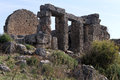 Ruins of ancient temple in silyon near antalya turkey Royalty Free Stock Photos