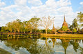Ruins and ancient temple in Sukhothai Royalty Free Stock Photo