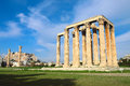 Ruins of ancient temple of zeus athens greece Stock Photo