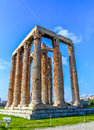 Ruins of ancient temple of zeus athens greece hdr photo Royalty Free Stock Photography