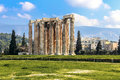Ruins of ancient temple of zeus athens greece light hdr Royalty Free Stock Photos