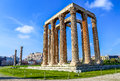 Ruins of ancient temple of zeus athens greece light hdr photo Royalty Free Stock Image