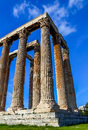 Ruins of ancient temple of zeus athens greece teple light hdr photo Royalty Free Stock Images