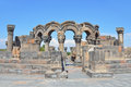The ruins of the ancient temple of Zvartnots, Armenia Royalty Free Stock Photo