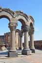 The ruins of the ancient temple of Zvartnots, Armenia Royalty Free Stock Photo