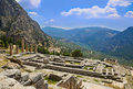 Ruins of Apollo temple in Delphi, Greece Royalty Free Stock Image