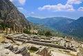Ruins of Apollo temple in Delphi, Greece Royalty Free Stock Photo