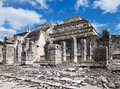 Ruins of an arkhelogichesky complex pillars at chichen itza site yucatan mexico Stock Photos