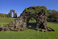 Ruins augustinian priory founded bruce family afterwards kings scotland dominated dramatic skeleton th century church s east end Royalty Free Stock Photography