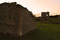 Ruins of Baconsthorpe castle at sunset, Norfolk, England, United Kingdom Royalty Free Stock Photo