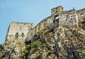 Ruins of Beckov castle on the high rock, Slovakia, beautiful pla Royalty Free Stock Photo