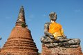 Ruins buddha statue with pagoda background ayutthaya historical park thailand Stock Photo