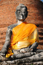 Ruins buddha statue thailand with brick wall at ayutthaya historical park Royalty Free Stock Image