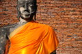 Ruins buddha statue thailand with brick wall at ayutthaya historical park Royalty Free Stock Photo