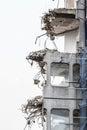Ruins of building under destruction, urban scene. Royalty Free Stock Photo