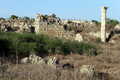 Ruins and bush in salamis north cyprus Stock Image