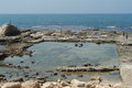 Ruins caesarea of herod s administrative building and palace Stock Images