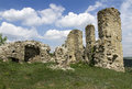 Ruins of the castle against cloudy sky western ukraine Royalty Free Stock Photos
