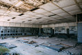 Ruins of the control center in an abandoned factory Royalty Free Stock Photo