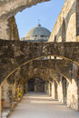 Ruins of Convento and Arches of Mission San Jose in San Antonio,  Texas Royalty Free Stock Photo