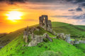 Ruins of the Corfe castle, UK Royalty Free Stock Photo