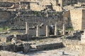 Ruins of doric antique constructions order on fountain square in the ancient kamiros rhodes greece Stock Photo