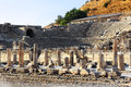 Ruins of ephesus ancient amphiteatre and pillars in celcuk turkey Royalty Free Stock Image