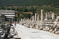 Ruins in ephesus turkey was an ancient greek city and later a major roman city on the west coast of asia minor near present day Royalty Free Stock Photo