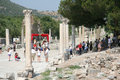 Ruins in ephesus turkey was an ancient greek city and later a major roman city on the west coast of asia minor near present day Royalty Free Stock Photos