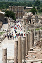 Ruins in ephesus turkey was an ancient greek city and later a major roman city on the west coast of asia minor near present day Stock Photography