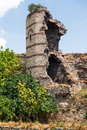The ruins of famous ancient walls of constantinopl constantinople in istanbul turkey Stock Photos