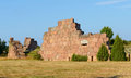 Ruins of the fortress bomarsund remains military fortifications in field Stock Images