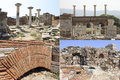 The ruins of the fortress of st john st john s basilica in selchuk turkey collage photos Royalty Free Stock Photos