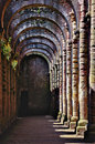 Ruins of fountains abbey old monastery in yorkshire Royalty Free Stock Images
