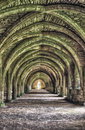 Ruins of fountains abbey old monastery in yorkshire Stock Image